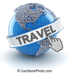 Global travel, 3d render - Travel globe formed by names of...