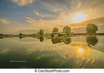 Morning lake with sunrise