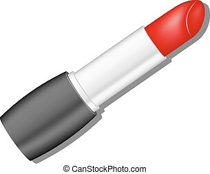 Red lipstick with shadow on white background