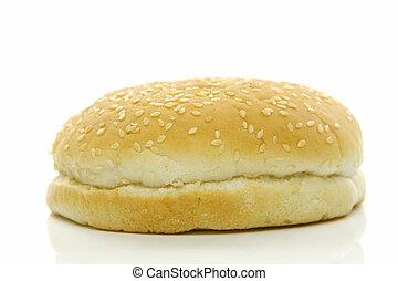 Hamburger Buns - Fresh hamburger buns isolated against a...
