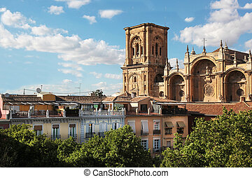 Granada Cathedral Spain - the Granada Cathedral with Plaza...