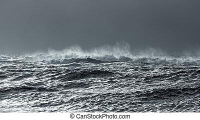 Waves in a glistening winter sea. Portuguese coast. Toned...