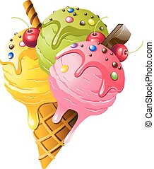 ice Cream - Ice Cream Vector illustration on white...