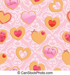 Vector cute pink seamless Valentines Day pattern with heart...