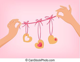 Vector hands holding cute Valentines day garland with heart...