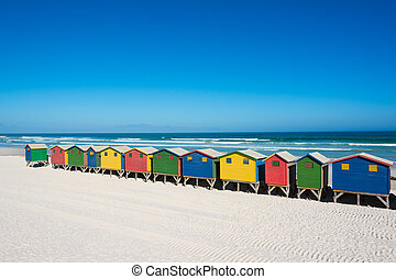 Colorful beach houses at Cape Town - Colorful bathhouses at...