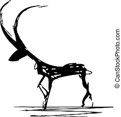 antelope - vector stylized illustration of antelope in black...