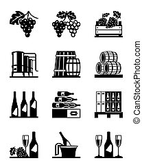 Grapes and wine icon set