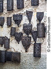 Metal works at market in Essaouira, Morocco