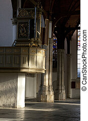 pulpit in old church in amsterdam
