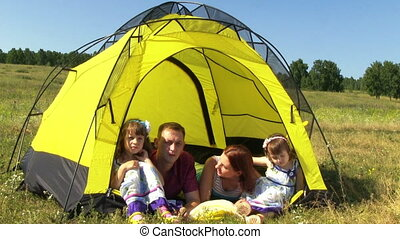 Happy Family In The Tent - Happy Family Rest In The Yellow...
