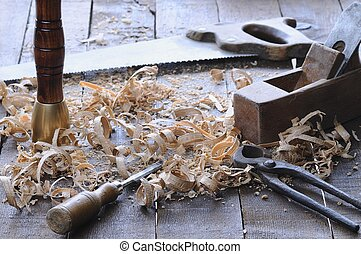 Carpenter tools - Carpenter tools on a work bench carpentry...
