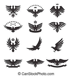 Eagles Set Black - Eagle silhouettes bird heraldic symbols...