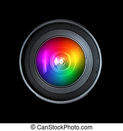 Photography camera lens, front view isolated on black...