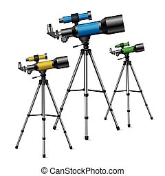 telescope - realistic vector telescope, a set of three...