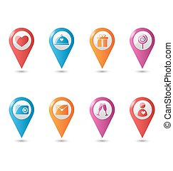 Love location pin mapping marks icons for saint valentine`s day isolated on