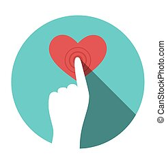 Icon with hand touching heart isolated on white