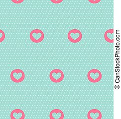 Seamless pattern with heart on light blue