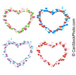 Four multicolored frames with hearts isolated on white