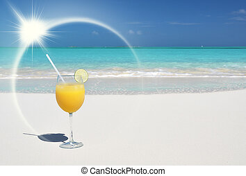 Orange juice on the beach Great Exuma, Bahamas
