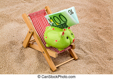beach chair with euro bill - beach chair with euro currency...