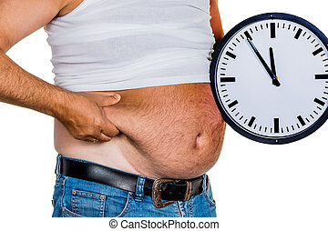 homem, com, excesso de peso,