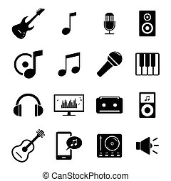 Set of icons - music, sound, audio - Set of simple black...