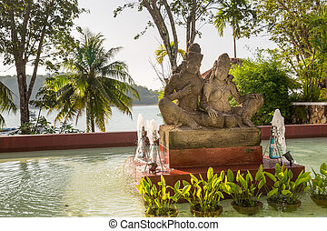 Statue on island of Phuket, Thailand Thai style statues...