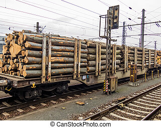 wagon loaded with wood - wagon train loaded with the wood...