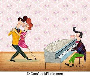piano, juego, hombre