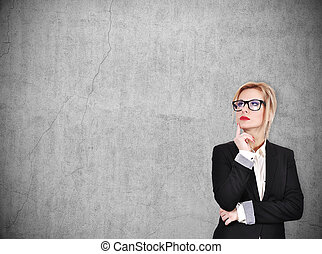 businesswoman thinking - young businesswoman thinking on...