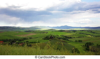 Green hills of Tuscany, Italy, panning