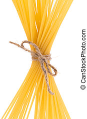 Pasta tied up by a rope. Whole background.