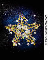 christmas star - star shape christmas decoration in the sky