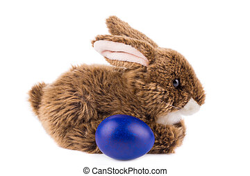 Easter rabbit and colorful egg - Easter rabbit and colorful...