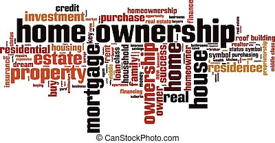 Home ownership word cloud concept Vector illustration