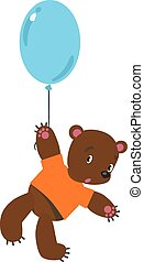 Little bear with balloon - Childrens vector illustration of...