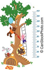 Meter wall with big tree and funny animals - Meter wall or...