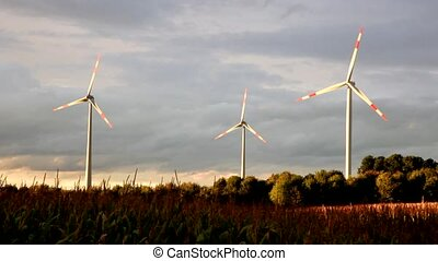 Green renewable energy concept - wind generator turbines in...