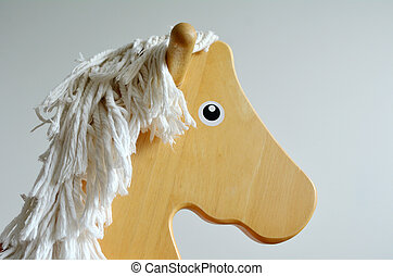 Wooden Rocking Horse face Childhood concept copyspace