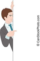 Businessman pointing to the banner