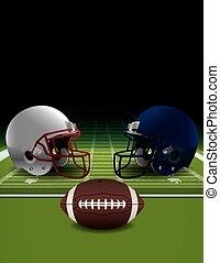 American Football Helmets, Ball, an - An illustration of...