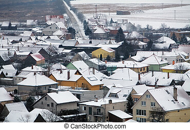 House in Village at winter, aerial