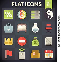 Universal Flat Icons Set 21 - Universal Flat Icons for Web...