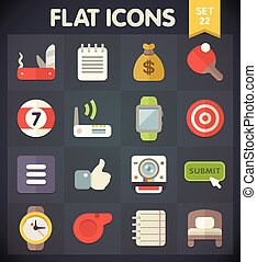 Universal Flat Icons Set 22 - Universal Flat Icons for Web...
