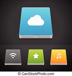 Portable Hard Disc Drive Icons - Portable Data Storage Hard...