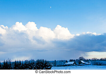 Winter and clouds - Winter and snow conceptual image Winter...