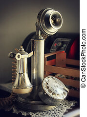 Vintage candlestick phone used in the early years of the...