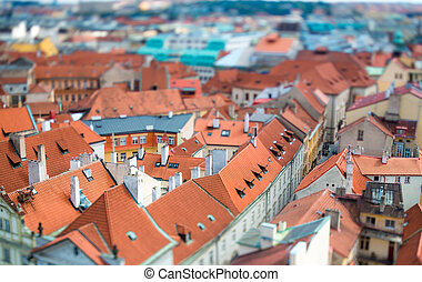 Prague - Tilt shift lens. - Prague view of the city from...