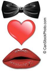 arc, cravate, coeur, lèvres,